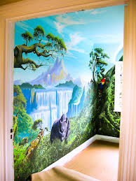 jungle mural in girl s room sacredart murals jungle mural seen through the doorway into the bedroom before new carpet was fitted