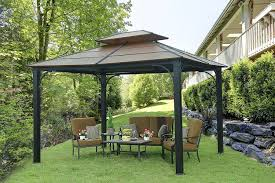 How To Build A Grill Gazebo by Amazon Com Sunjoy 10 U0027 X 12 U0027 Galvanized Steel Hardtop Gazebo