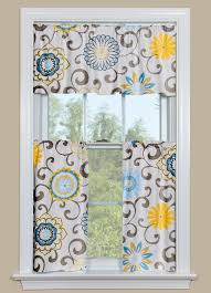 Blue And Yellow Curtains Prints Floral Kitchen Curtains With Blue And Yellow Pom Pom Play Spa