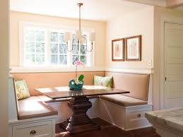 small breakfast nook design with rectangular pedestal oak dining