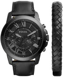 black bracelet box images Fossil men 39 s chronograph grant black leather strap watch jpg