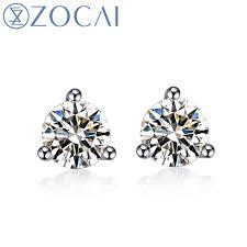 diamond ear studs aliexpress buy zocai trendy charm 0 56 ct h si