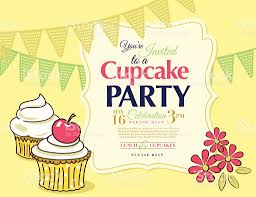 Cherry Cupcake Invitation Card Royalty Cupcake Party Invitation Template In Yellow Horizontal Stock
