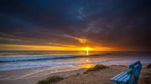 beach bench clouds beach waves sundown gorgeous view point sea
