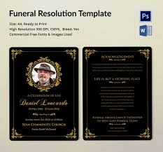 funeral resolution template 5 word psd format download free