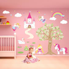 ideas cute interior drawing in the wall for baby room with cream princess stickers for walls simple wall decor ideas