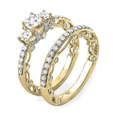 yellow gold bridal sets 1 65 carat ctw 14k gold diamond vintage bridal ring