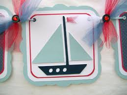 Nautical Themed Baby Shower Banner - nautical sailboat baby shower banner its a boy in red white
