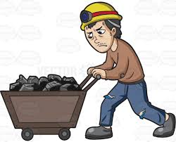 a mineworker pushing a cart of coal cartoon clipart vector toons