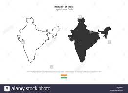 India Political Map Republic Of India Isolated Map And Official Flag Icons Vector