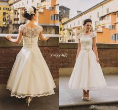 retro wedding dress vintage ankle length illusion wedding dresses vintage