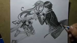 pencil drawing asuna and kirito sword art online youtube