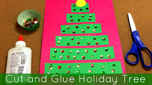 cut and glue holiday tree art project for preschool and