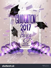 Invitation Card Graduation Party Graduation Party Invitation Card Flying Hats Stock Vector