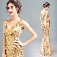 si e baquet pas cher robe de soirée d or de mode brillant sirène banquet élégant
