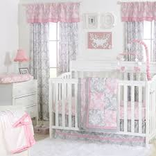 Curtains With Ruffles Damask Delight Patchwork Crib Starter Set In Pink U0026 Grey