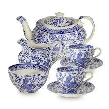 tea set blue regal peacock tea set burleigh pottery