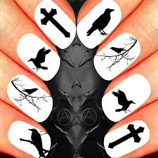 gothic raven nail art decals alternative fashion nail design