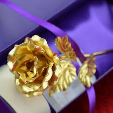 Golden Roses 2017 Elegant Golden Rose With Gold Plated Stem For Mothers Day And