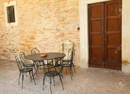 Retro Garden Chairs Retro Garden Furniture On Italian Terrace Italy Europe Stock