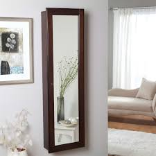 Wall Mounted Locking Jewelry Armoire Cabinet In Espresso