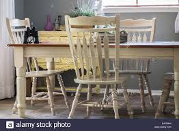 an ordinary white painted country style dining room set with four