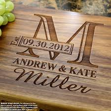 cutting board engraved monogram personalized engraved cutting board wedding