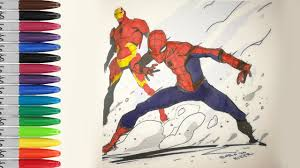the spiderman homecoming with ironman coloring pages sailany