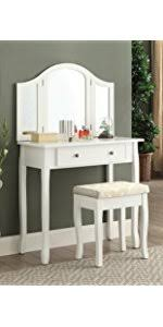 Vanity Table And Stool Set Amazon Com Roundhill Furniture Sunny White Wooden Vanity Make Up