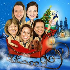 christmas group caricature xmas gift for colleagues boss