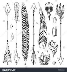 boho set arrows feathers crystals isolated stock vector 563092429