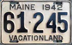 Maine State Vanity Plates File 1942 Maine License Plate 01 Jpg Wikimedia Commons