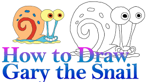how to draw gary the snail from spongebob hde youtube