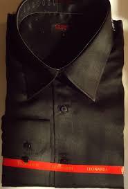 mens elegant leonardi shirt solid shiny black high collar fashion