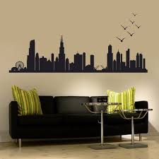 custom wall sticker custom wall sticker chicago skyline silhouette wall decal custom vinyl art stickers 76 2cm x218