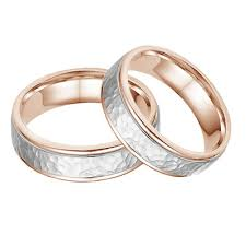 white gold wedding band sets 14k and white gold hammered wedding band set