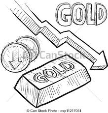 clipart vector of gold prices down sketch doodle style gold