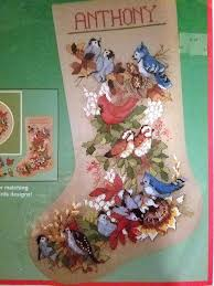 dimensions forest birds christmas cross stitch stocking kit 8412