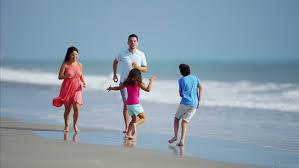 happy hispanic family travel leisure resort time