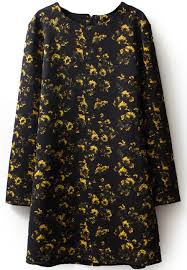 black long sleeve yellow floral straight dress shein sheinside