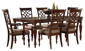 standard furniture woodmont 8 piece leg dining room set with arm