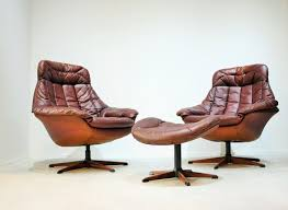 Danish Leather Armchair Set Hw Klein Leather Armchairs And Footstool Mid Century Chairs