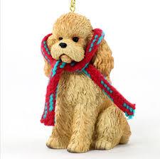Dog Christmas Ornaments Poodle Dog Christmas Ornament Scarf Figurine Apricot Sport Cut