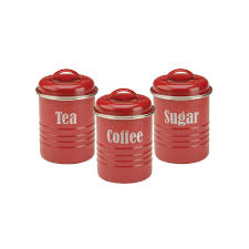 typhoon vintage kitchen 3 pc stainless steel canister set blue