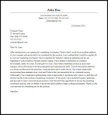 marketing cover letter marketing cover letters professional marketing coordinator cover