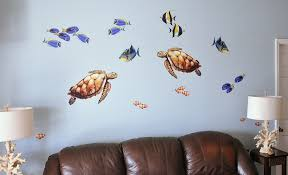 sea turtle and reef fish wall decal set bold wall art sea turtle and reef fish wall decal set