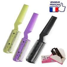 peigne coupe cheveux peigne rasoir 2 en 1 lame pour couper effiler cheveux