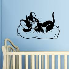 decoration sticker wall picture more detailed about cartoon sleeping cat tom and jerry wall stickers living kids rooms bedroom kid room