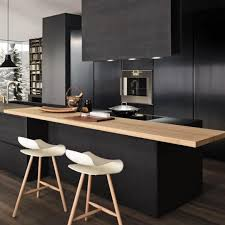 Black Kitchen Cabinets Cool Black Kitchen Cabinets Design With Wooden Table And Two