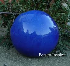 blue glazed sphere garden ornament woodside garden centre